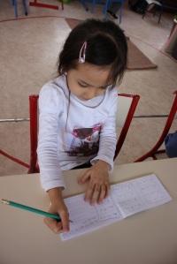 La concentration de l'enfant.