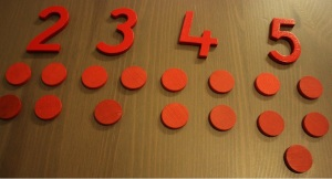 1, 2, 3, 4, 5 with counters