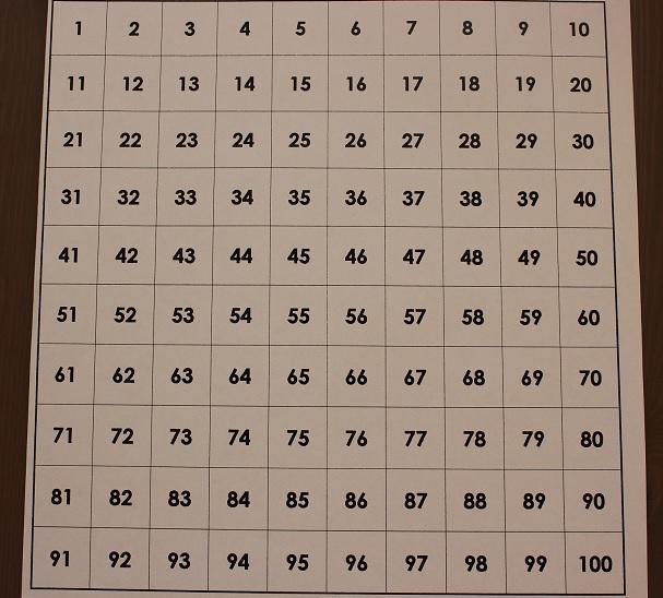 Montessori tableau de 100