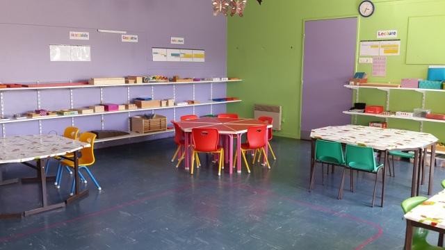 La classe avec l'esprit Montessori.