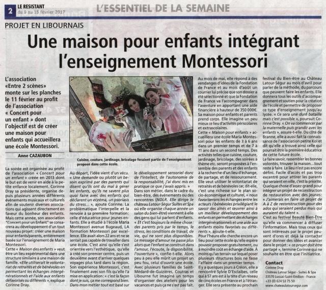 """Article du journal """"Le Résistant"""""""